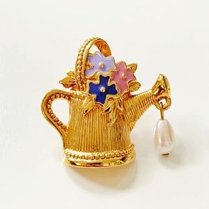 Avon || Floral Watering Can Brooch with Faux Pearl